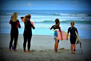 Surf Sisters enjoying activities in the space coast